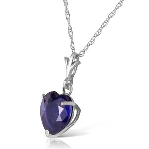 Galaxy Gold Products Jewelry - SOLID GOLD NECKLACE WITH NATURAL HEART SAPPHIRE